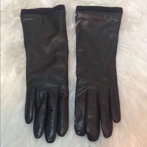 L.L. Bean Women's Brown Leather Cashmere Gloves